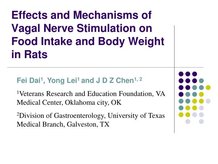 effects and mechanisms of vagal nerve stimulation on food intake and body weight in rats n.