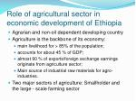 role of agricultural sector in economic development of ethiopia