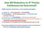 how will reductions to 4 th priority entitlements be determined