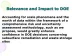 relevance and impact to doe