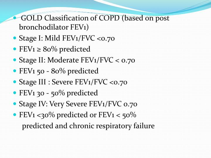 GOLD Classification of COPD (based on post bronchodilator FEV1)