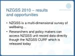 nzgss 2010 results and opportunities