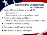 constitutional underpinnings and evolution