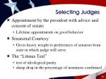 selecting judges