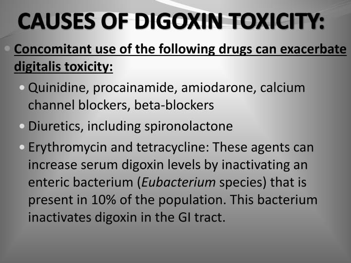 CAUSES OF DIGOXIN TOXICITY:
