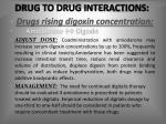 drug to drug interactions