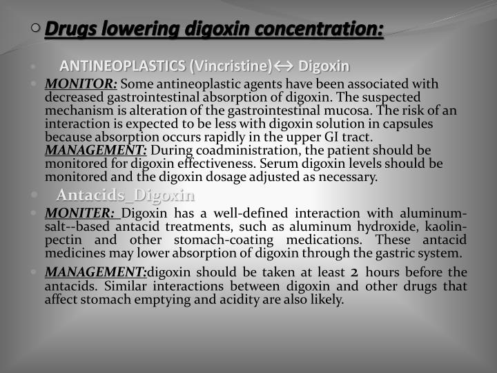 Drugs lowering digoxin concentration: