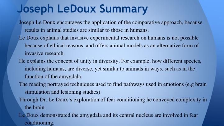 Joseph LeDoux Summary