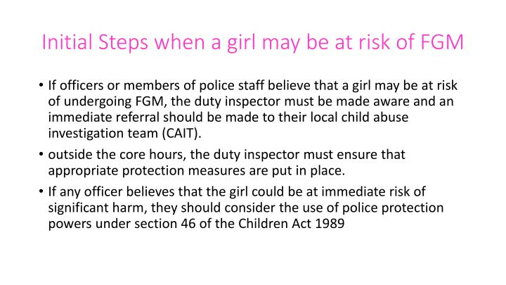 Initial Steps when a girl may be at risk of FGM