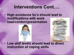 interventions cont