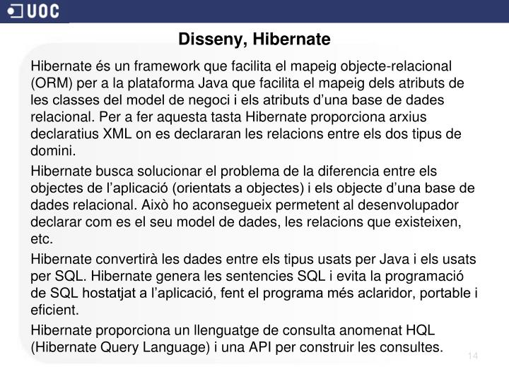 Disseny, Hibernate