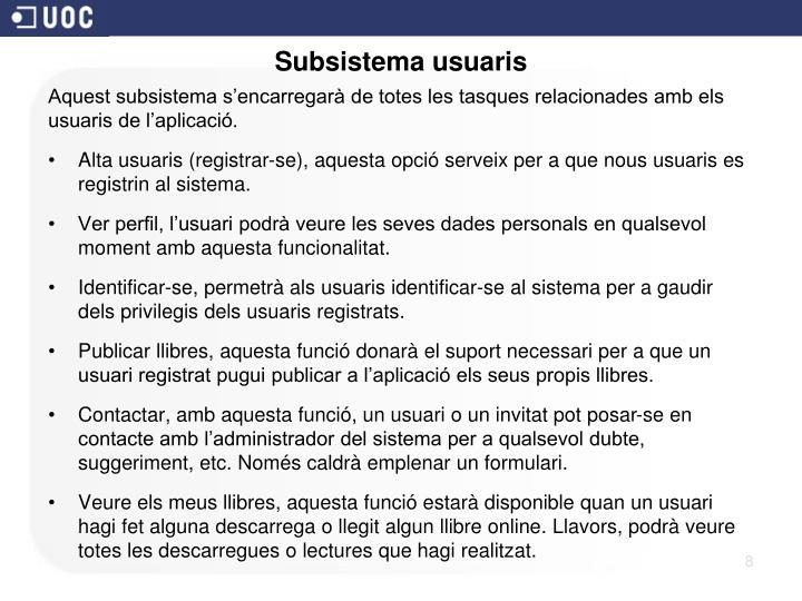Subsistema usuaris