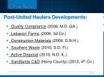 post united haulers developments