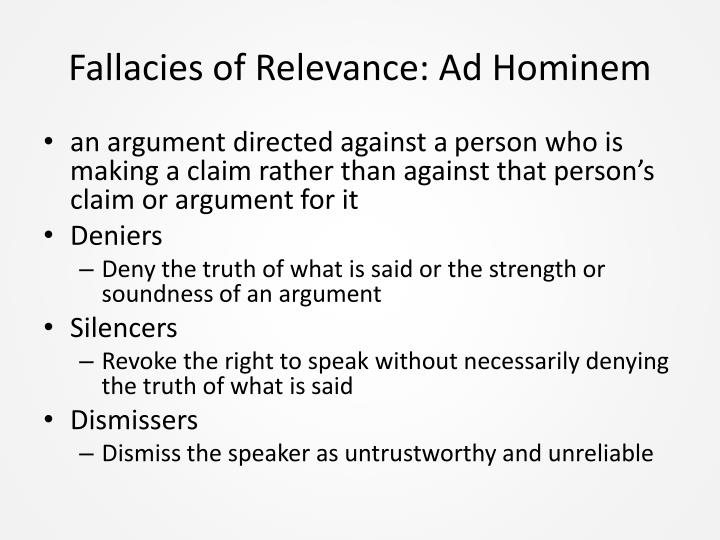 Fallacies of Relevance: Ad Hominem