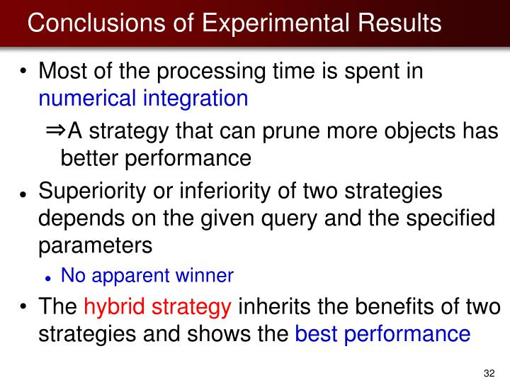 Conclusions of Experimental Results