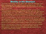 motility in the stomach