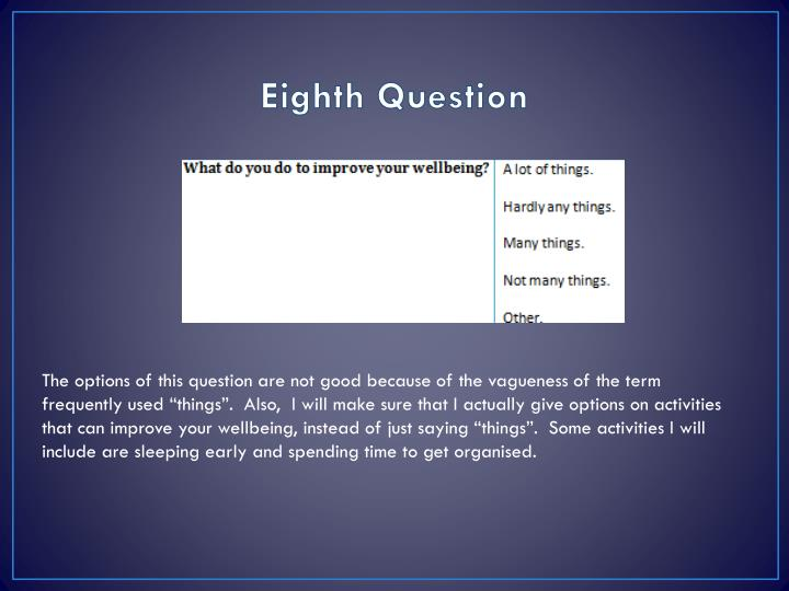 Eighth Question