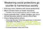 weakening social protections go counter to harmonious society