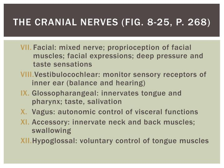 The cranial nerves (Fig. 8-25, P. 268)