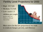 fertility level projections for 2050