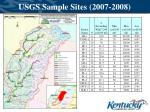 usgs sample sites 2007 2008