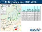 usgs sample sites 2007 20081