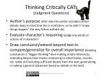thinking critically cats judgment questions