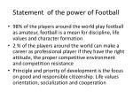 statement of the power of football