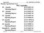 wg agendas