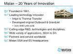matan 20 years of innovation