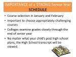 importance of a strong senior year schedule