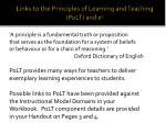 links to the principles of learning and teaching polt and e 5