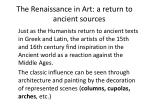 the renaissance in art a return to ancient sources