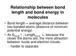relationship between bond length and bond energy in molecules