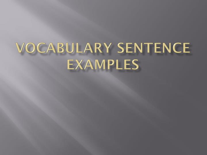 vocabulary sentence examples n.
