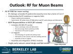 outlook rf for muon beams