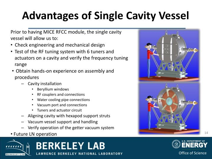 Prior to having MICE RFCC module, the single cavity vessel will allow us to
