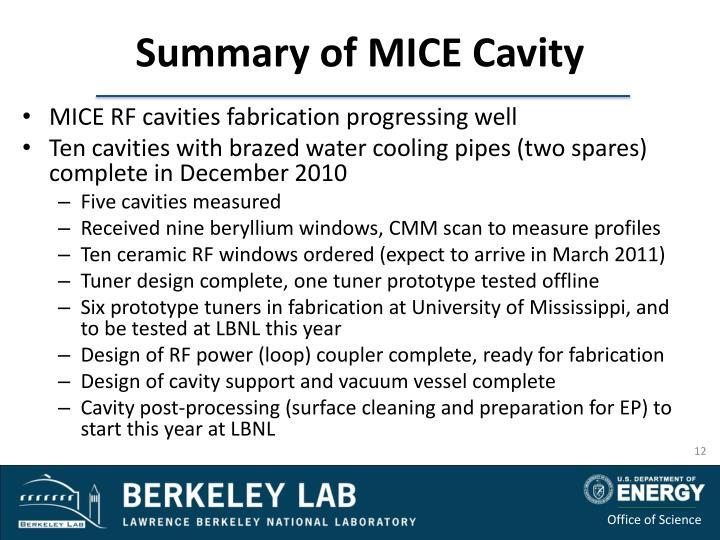 Summary of MICE Cavity