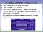 university entrance requirements