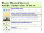 chapter 4 learning objectives after this chapter you will be able to