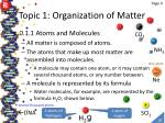 topic 1 organization of matter