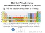use the periodic table to find the electron arrangement of an atom