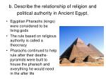 b describe the relationship of religion and political authority in ancient egypt