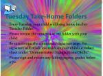 tuesday take home folders