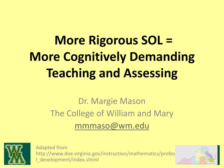 more rigorous sol more cognitively demanding teaching and assessing n.