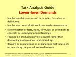 task analysis guide lower level demands