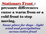 pressure differences cause a warm from or a cold front to stop moving