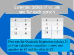 generate tables of values one for each person
