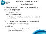 klystron control linac commissioning