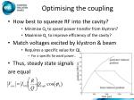 optimising the coupling